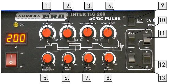 панель управления сварочного аппарата Интер Тиг 200